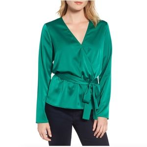 Gibson Tops - Gibson x Living in Yellow satin wrap top blouse